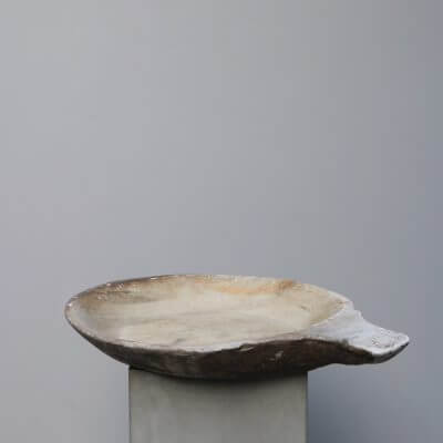 Large unique stone bowl with handle carved in solid stone Studio Oliver Gustav Copenhagen