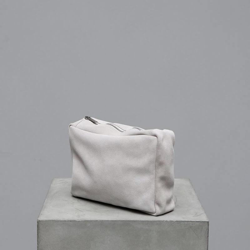 Journey by Oliver Gustav toiletry bag in light beige suede