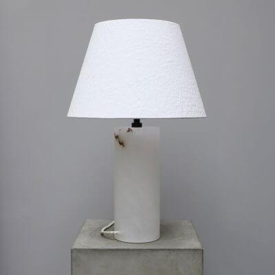 Unique lamp in white alabaster from Michael verheyden