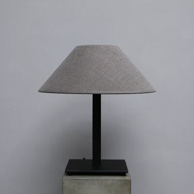 Iron Stand Lamp with lamp shade in grey hemp