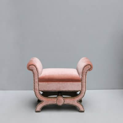 Stool by Otto Schultz in art deco style with upholstery in pink mohair velvet