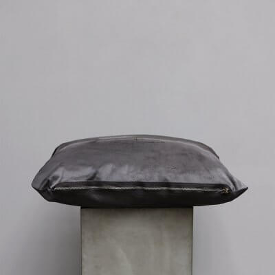 Limited edition high-quality anthracite grey cowhide Cushion - Small from Journey by Oliver Gustav